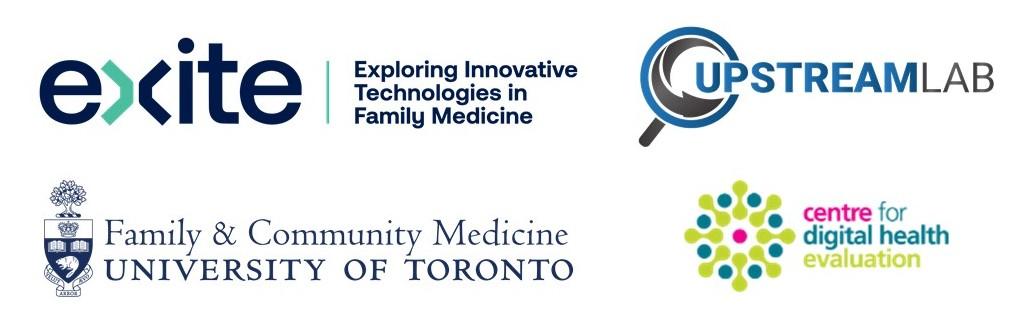 EXITE logo, DFCM logo, Upstream Lab logo, CDHE logo
